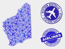 Carte d'Australie occidentale de vecteur de mosaïque d'aviation et timbres grunges illustration de vecteur