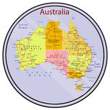 Carte d'Australie sur la pièce de monnaie Photographie stock libre de droits