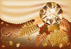Carte d'automne avec la pierre gemme précieuse Photo stock