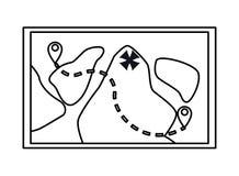 Carte d'aventure avec des lacs et des destinations en noir et blanc illustration de vecteur