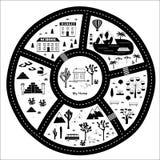 Carte d'aventure de route, de montagnes et en bois Images libres de droits