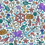 Carte d'aventures de mer Objets tirés par la main marins de vecteur Illustration de vecteur de style de griffonnage illustration stock