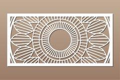 Carte d?corative pour la coupure Mod?le de Mandala Geometry Panneau de coupe de laser 1:2 de rapport Illustration de vecteur illustration de vecteur