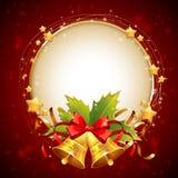 Carte d'or décorative de félicitation de Noël avec des symboles illustration stock