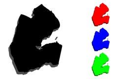 carte 3D de Djibouti illustration libre de droits