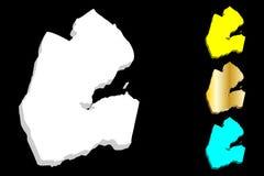 carte 3D de Djibouti Photographie stock libre de droits