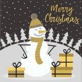 Carte d'or de Joyeux Noël avec le bonhomme de neige illustration de vecteur