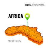 carte 3D de l'Afrique GPS Goupille de navigateur vérifiant la couleur verte sur le fond blanc Infographics pour vos affaires Illu Photo stock