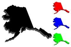 carte 3D de l'Alaska illustration de vecteur