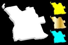 carte 3D de l'Angola Illustration de Vecteur