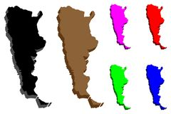 carte 3D de l'Argentine illustration stock
