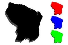 carte 3D de la Guyane française française Photo libre de droits