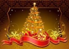 Carte d'or de poust de Noël. Illustration Stock