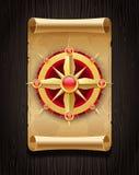 Carte d'or de rose de compas et de défilement de cru Photographie stock libre de droits