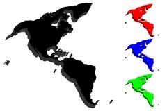 carte 3D des sud et de l'Amérique du Nord illustration stock