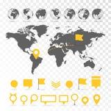 Carte 3D du monde avec l'ensemble d'éléments d'infographics Photographie stock