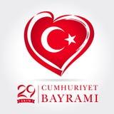 Carte d'ekim de Cumhuriyet Bayrami 29, emblème de coeur dans des couleurs de drapeau national Photographie stock libre de droits