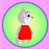 Carte d'emblème avec le chat mignon de bande dessinée Images libres de droits