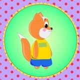 Carte d'emblème avec le Fox mignon de bande dessinée Images libres de droits
