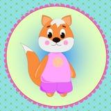 Carte d'emblème avec le Fox mignon de bande dessinée Photos stock