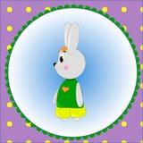 Carte d'emblème avec le lapin mignon de bande dessinée Photographie stock libre de droits