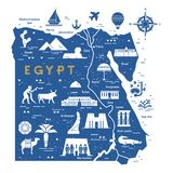 Carte d'ensemble et de silhouette de l'Egypte - illustration de vecteur tir?e par la main avec les lignes noires illustration de vecteur