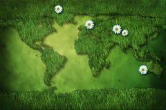 Carte d'herbe de monde avec le margherita Image libre de droits