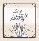 Carte d'histoire d'amour avec la scène marine d'écosystème d'usines illustration de vecteur