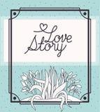Carte d'histoire d'amour avec la scène marine d'écosystème d'usines illustration stock