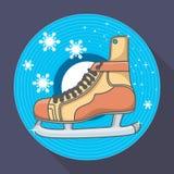 Carte d'hiver avec des patins et des flocons de neige de glace Photo libre de droits
