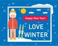 Carte d'hiver d'amour Images libres de droits