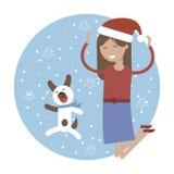 Carte d'hiver Fille heureuse avec son chien sautant pour la joie illustration stock