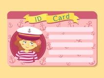 Carte d'identification avec capitaine Hat Picture Vector d'usage de fille Photo stock