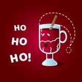 """Carte d'illustration avec le caractère drôle de rire le verre irlandais habillé comme Santa Claus et le texte """"Ho ho ho ! """" illustration libre de droits"""