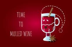 """Carte d'illustration avec le caractère drôle de rire le verre irlandais habillé comme Santa Claus et le texte """"temps au vin chaud illustration de vecteur"""