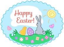 Carte d'illustration de salutation de Pâques de découpe Image libre de droits