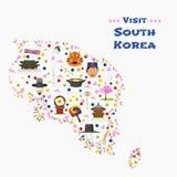 Carte d'illustration de vecteur de la Corée du Sud, conception Photographie stock libre de droits