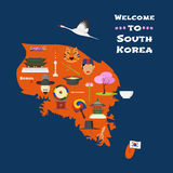 Carte d'illustration de vecteur de la Corée du Sud, conception Photos stock