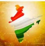 carte d'Inde dans le vieil illustrati texturisé de conception de vecteur de fond Images stock
