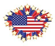 Carte d'indicateur des USA et étoiles 3d. illustration Images libres de droits