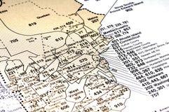 Carte d'indicatif régional Photo stock