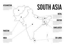 Carte d'Infographic de l'Asie du sud Calibre moderne avec le texte en noir et blanc Illustration de vecteur Photos stock