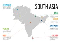 Carte d'Infographic de l'Asie du sud Calibre moderne avec le texte et les en-têtes colorés d'état Illustration de vecteur Image libre de droits