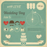 Carte d'Infographics d'invitation de mariage Photo stock