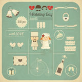 Carte d'Infographics d'invitation de mariage rétro Photo stock