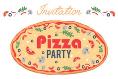 Carte d'insecte d'affiche d'invitation de partie de pizza de vecteur Photographie stock