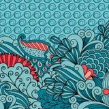 Carte d'invitation avec l'ornement floral bleu Image libre de droits