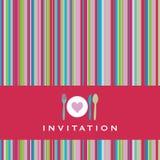 Carte d'invitation avec la silhouette de couverts Images stock