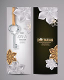 Carte d'invitation avec le fond principal et floral Images stock