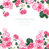 Carte d'invitation avec le vecteur de bouquet de roses de vintage d'aquarelle Décor rose floral pour des salutations, mariage, an Image libre de droits